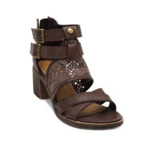 Sugar Heyney Block Heel Sandals Women's Shoes  - Brown