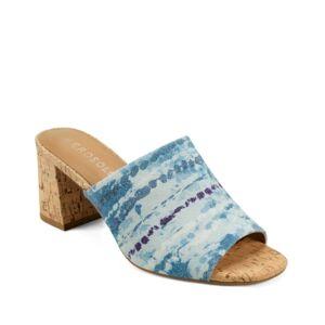 Aerosoles Women's Erie Block Heel Slide Sandal Women's Shoes  - Blue Combo