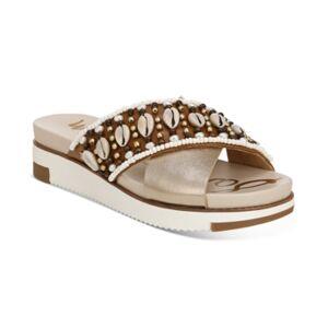 Sam Edelman Women's Austen Seashell Crossband Flat Sandals Women's Shoes  - Dark Molten Gold Multi