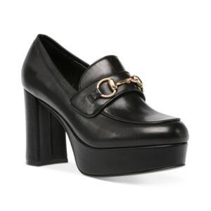 Steve Madden Women's Cinderella Horse-Bit Platform Loafers  - Black