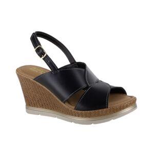 Bella Vita Pep-Italy Wedge Sandals Women's Shoes  - Black Leather