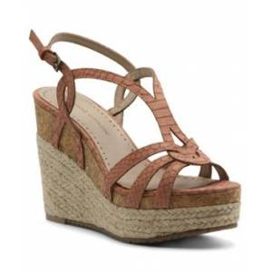 Adrienne Vittadini Women's Clutch Platform Wedge Sandals Women's Shoes  - Coral