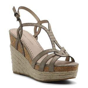 Adrienne Vittadini Women's Clutch Platform Wedge Sandals Women's Shoes  - Taupe