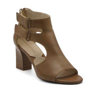 Adrienne Vittadini Rea Block Heel Sandals Women's Shoes  - Cuoio Brown