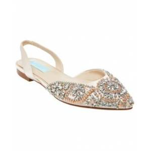 Blue by Betsey Johnson Women's Molly Evening Flats Women's Shoes  - Champagne Satin