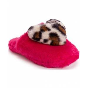 Betsey Johnson Women's Heart Slippers  - Pink Leopard