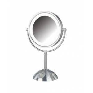 "Jerdon The Jerdon HL8808NL 8.5"" Tabletop Two-Side Swivel Led Lighted Vanity Mirror Bedding  - Nickel"