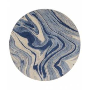 "Nourison Closeout! Nourison Moraine MO749 Light Blue 5'6"" Round Area Rug"