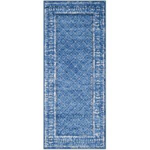 "Safavieh Adirondack Light Blue and Dark Blue 2'6"" x 12' Runner Area Rug  - Light Blue"
