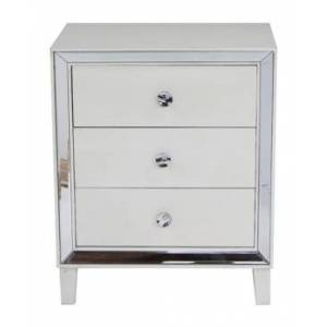 Heather Ann Creations Heather Ann Avery Mirrored Accent Cabinet with 3 Drawers  - White