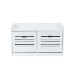 Luxen Home 8 Pair Shoe Storage Bench  - White