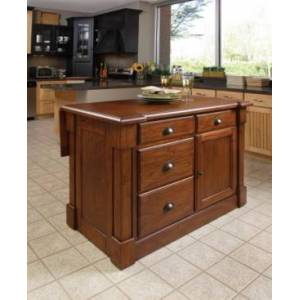 Home Styles Aspen Rustic Cherry Kitchen Island  - Open Brown