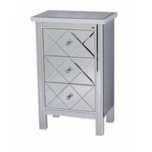 Heather Ann Creations Heather Ann Emmy Mirrored Accent Cabinet with 3 Drawers  - White