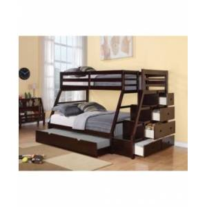 Acme Furniture Jason Twin Over Full Bunk Bed with Storage, Ladder & Trundle  - Brown
