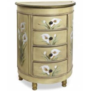 Nearly Natural Antique-Style Accessory Table with Calla Lily Floral Art  - Natural
