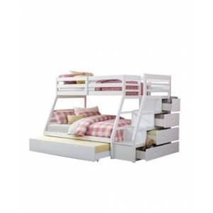 Acme Furniture Jason Twin Over Full Bunk Bed with Storage, Ladder & Trundle  - White