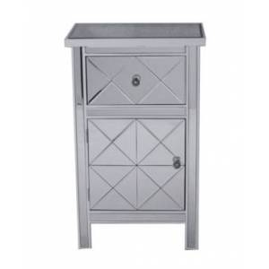 Heather Ann Creations Heather Ann Emmy Mirrored Accent Cabinet with Drawer  - White