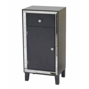 Heather Ann Creations Heather Ann Avery Mirrored Tall Accent Cabinet with Drawer  - Black