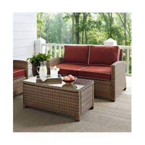 Crosley Bradenton 2 Piece Outdoor Wicker Seating Set With Cushions - Loveseat And Glass Top Table  - Cherry