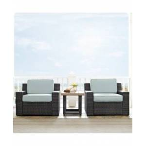 Crosley Beaufort 3 Piece Outdoor Wicker Seating Set With Mist Cushion - 2 Chairs, Side Table  - Cherry