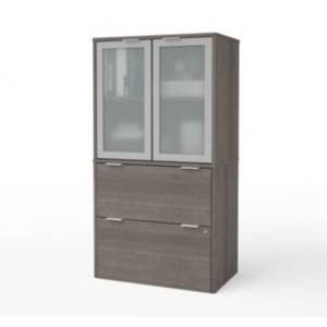 Bestar i3 Plus Lateral File with Storage Cabinet  - Heather Gr