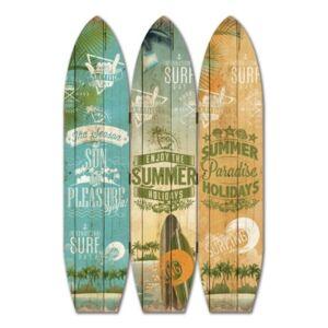 Screen Gems Coastal Double sided 3 Panel Surfboard Summer Screen  - Multi