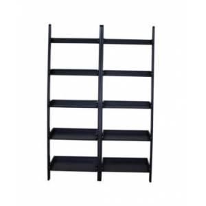 International Concepts Lean To Shelf Units with 5 Shelves, Set of 2  - Black