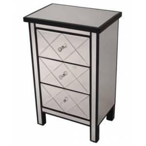 Heather Ann Creations Heather Ann Emmy Mirrored Accent Cabinet with 3 Drawers  - Black
