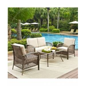 Crosley Tribeca 4 Piece Outdoor Wicker Seating Set With Cushions - Loveseat, 2 Arm Chairs And Coffee Table  - Cherry