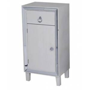 Heather Ann Creations Heather Ann Avery Mirrored Tall Accent Cabinet with Drawer  - White