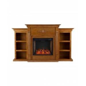 Southern Enterprises Whitehall Alexa-Enabled Electric Fireplace with Bookcases  - Brown