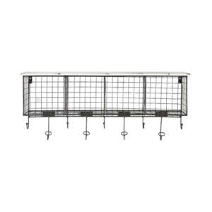 Linon Home Decor Cowan 4-Cubby Wall Shelf with 9 Hooks  - White