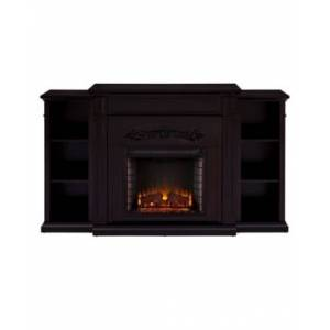 Southern Enterprises Cardewell Electric Fireplace with Bookcases  - Brown