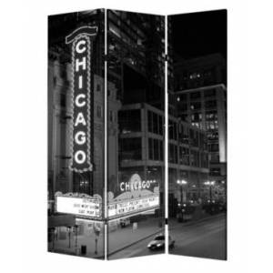 Screen Gems Double sided with different Design 3 Panel 6' Chicago Screen  - Multi