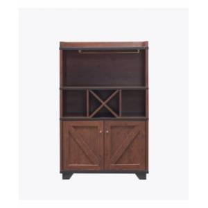 Furniture Of America Glamdon Farmhouse Wine Cabinet  - Vintage Walnut