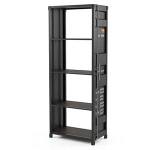 Furniture of America Nybyn 4-Shelf Bookcase  - Dark Gray