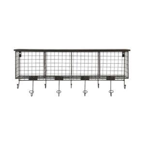Linon Home Decor Cowan 4-Cubby Wall Shelf with 9 Hooks  - Black