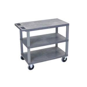 Clickhere2shop Gray EC222HD-g 18x32, Cart with 3 Flat Shelves  - Gray