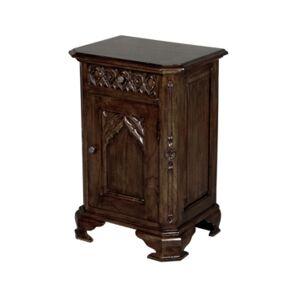 Design Toscano Queensbury Inn Gothic Revival Bedside Table  - Dark Brown