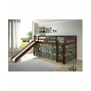 Donco Kids Twin Mission Tent Loft Bed with Slide  - Dark Brown