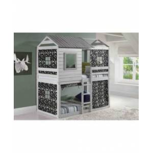 Donco Kids Twin Loft Bed Deer Blind Bed with Camo Tent Kit  - Gray
