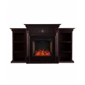 Southern Enterprises Whitehall Alexa-Enabled Electric Fireplace with Bookcases  - Dark Brown