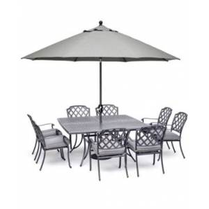 """Furniture Vintage Ii Outdoor Cast Aluminum 9-Pc. Dining Set (64"""" X 64"""" Table & 8 Dining Chairs) With Sunbrella Cushions, Created for Macy's  - Cast Slate"""