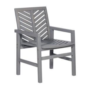 Walker Edison Outdoor Chevron Chair, Set of 2  - Gray