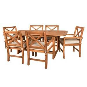Walker Edison 7-Piece X-Back Acacia Outdoor Patio Dining Set with Cushions -Brown  - Brown