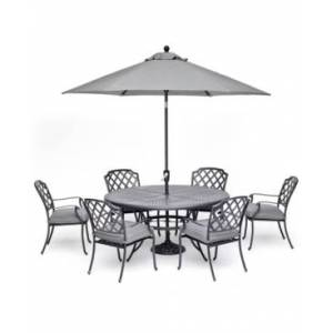 """Furniture Vintage Ii Outdoor Cast Aluminum 7-Pc. Dining Set (61"""" Round Table & 6 Dining Chairs) With Sunbrella Cushions, Created for Macy's  - Cast Slate"""
