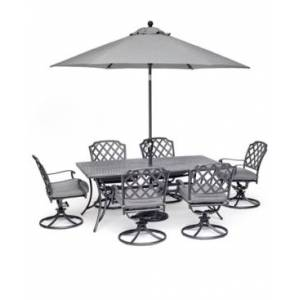 """Furniture Grove Hill Ii Outdoor Cast Aluminum 7-Pc. Dining Set (72"""" X 38"""" Table & 6 Swivel Chairs) With Sunbrella Cushions, Created for Macy's  - Cast Slate"""