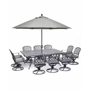 """Furniture Grove Hill Ii Outdoor Cast Aluminum 11-Pc. Dining Set (84"""" X 60"""" Table & 10 Swivel Chairs) With Sunbrella Cushions, Created for Macy's  - Cast Slate"""