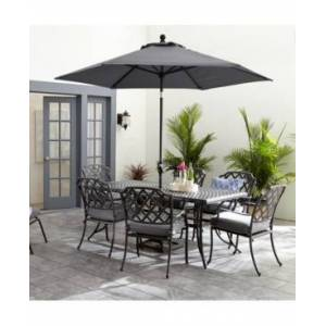 """Furniture Vintage Ii Outdoor Cast Aluminum 7-Pc. Dining Set (72"""" X 38"""" Table & 6 Dining Chairs) With Sunbrella Cushions, Created for Macy's  - Cast Slate"""