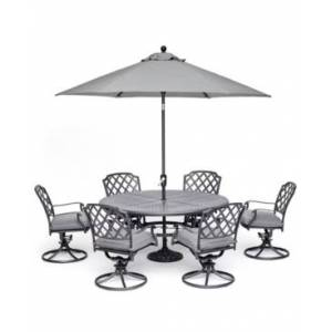 """Furniture Grove Hill Ii Outdoor Cast Aluminum 7-Pc. Dining Set (61"""" Round Table & 6 Swivel Chairs) With Sunbrella Cushions, Created for Macy's  - Cast Slate"""